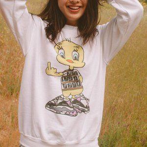 Sweaters - Cute Tweety Bird Cartoon Hype White Sweater